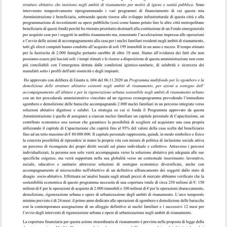lettera di cateno de luca a conte sulle baracche di messina
