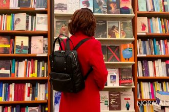 foto di una ragazza che guarda i libri in una libreria di messina
