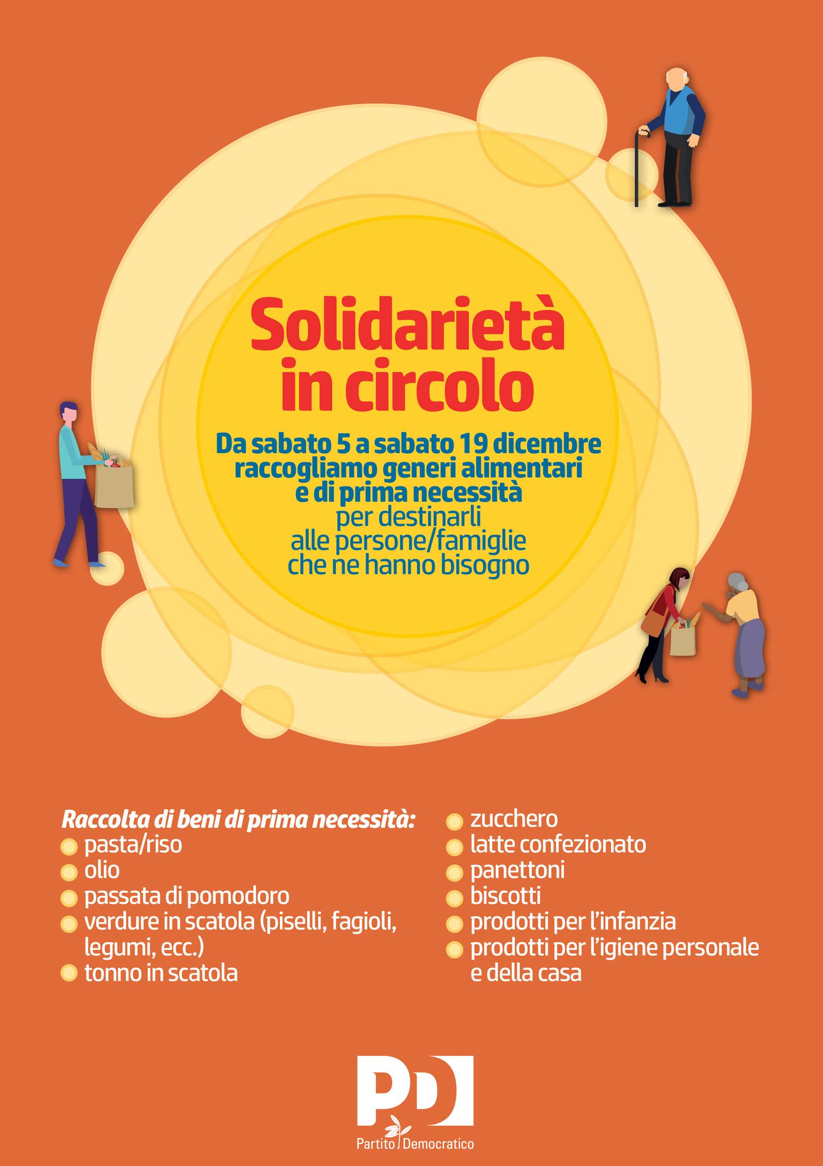 locandina di solidarietà in circolo: iniziativa di beneficenza per natalle