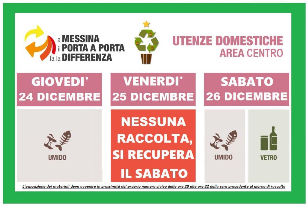 calendario per il conferimento dei rifiuti a messina la settimana di natale