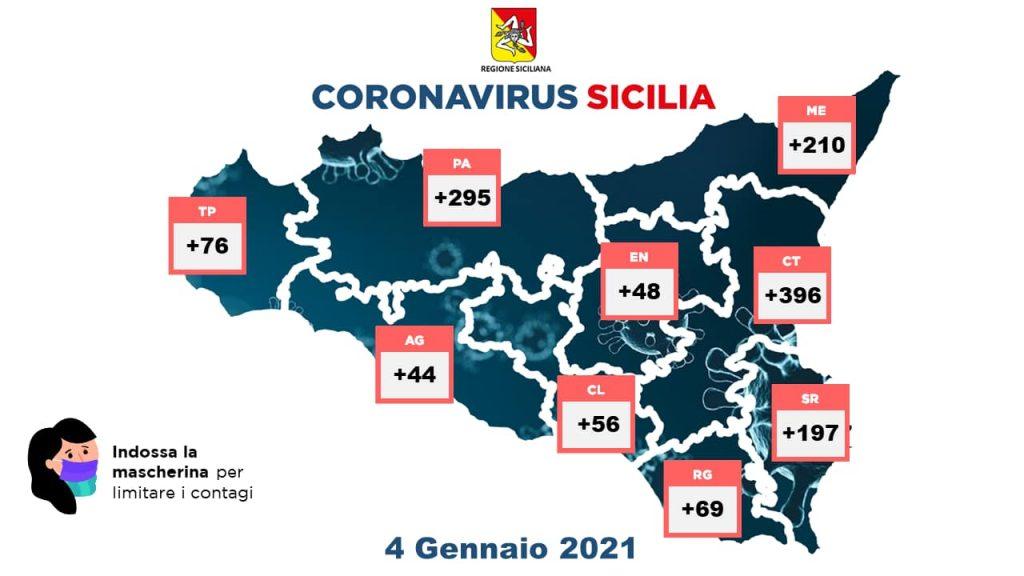 mappa dei dati sul coronavirus nelle province della sicilia secondo il bollettino del 4 gennaio 2021
