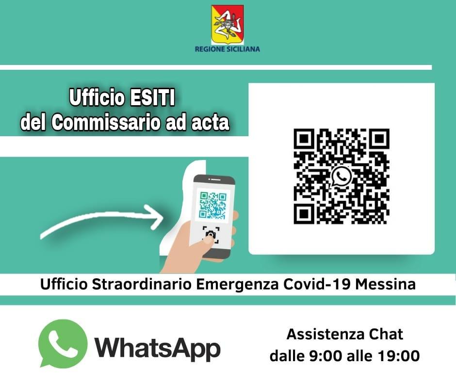 esiti dei tamponi tramite whatsapp a Messina