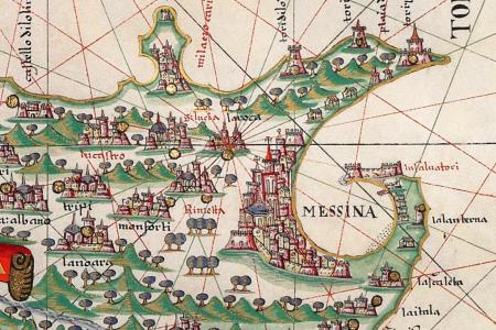 mappa dell'antica messina di joan martines, cartografo messinese