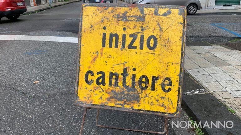 cartello di inizio cantiere per lavori stradalo