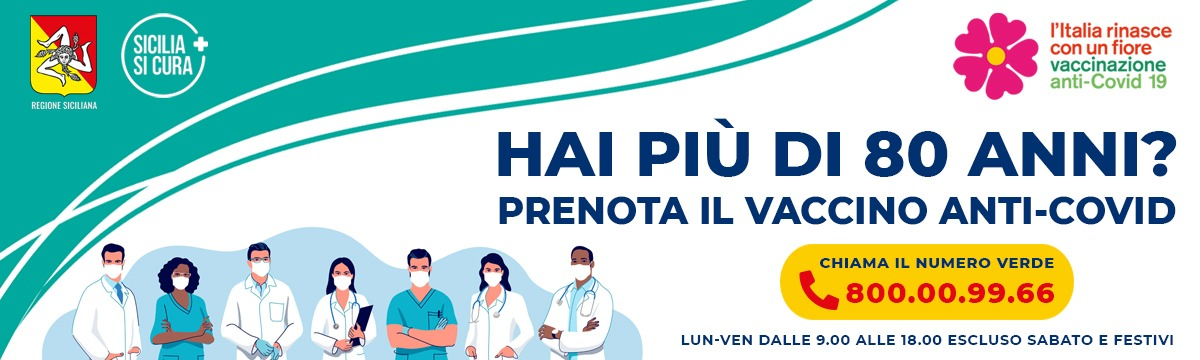 banner con il numero per prenotazioni vaccini anti-covid a Messina e provincia
