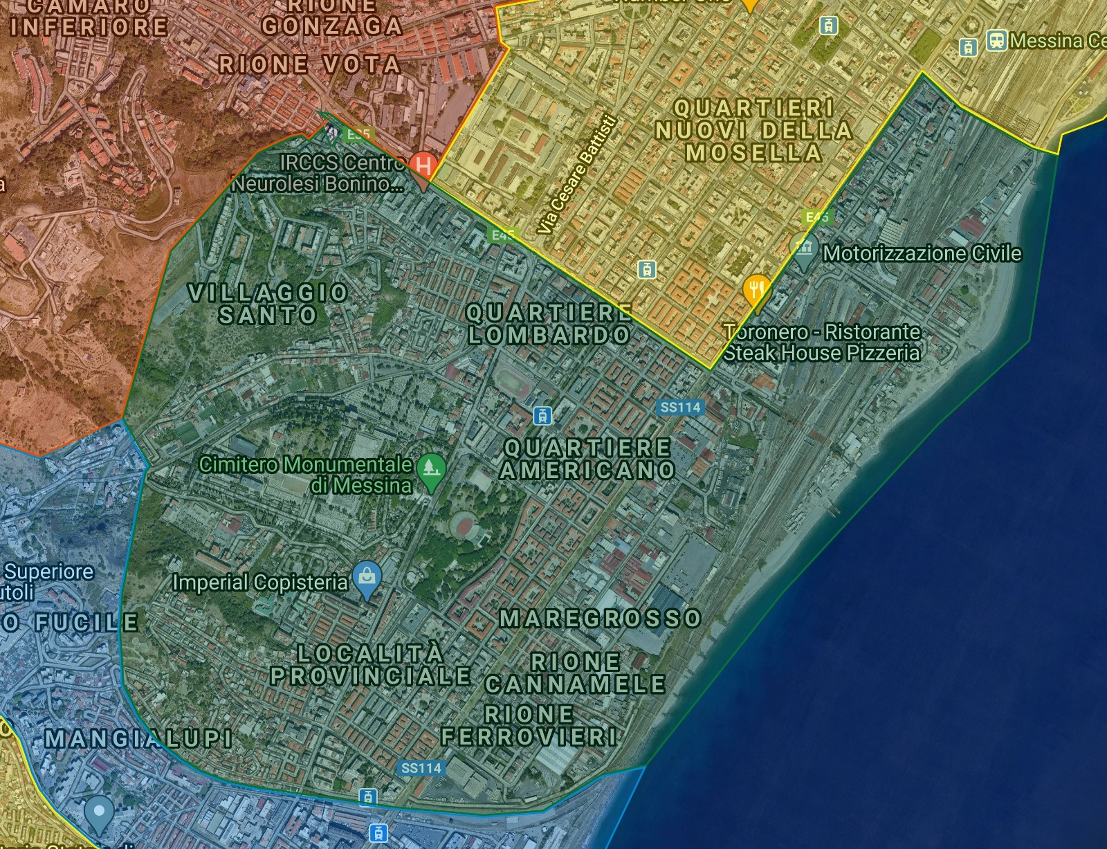 mappa della raccolta differenziata porta a porta in centro a messina