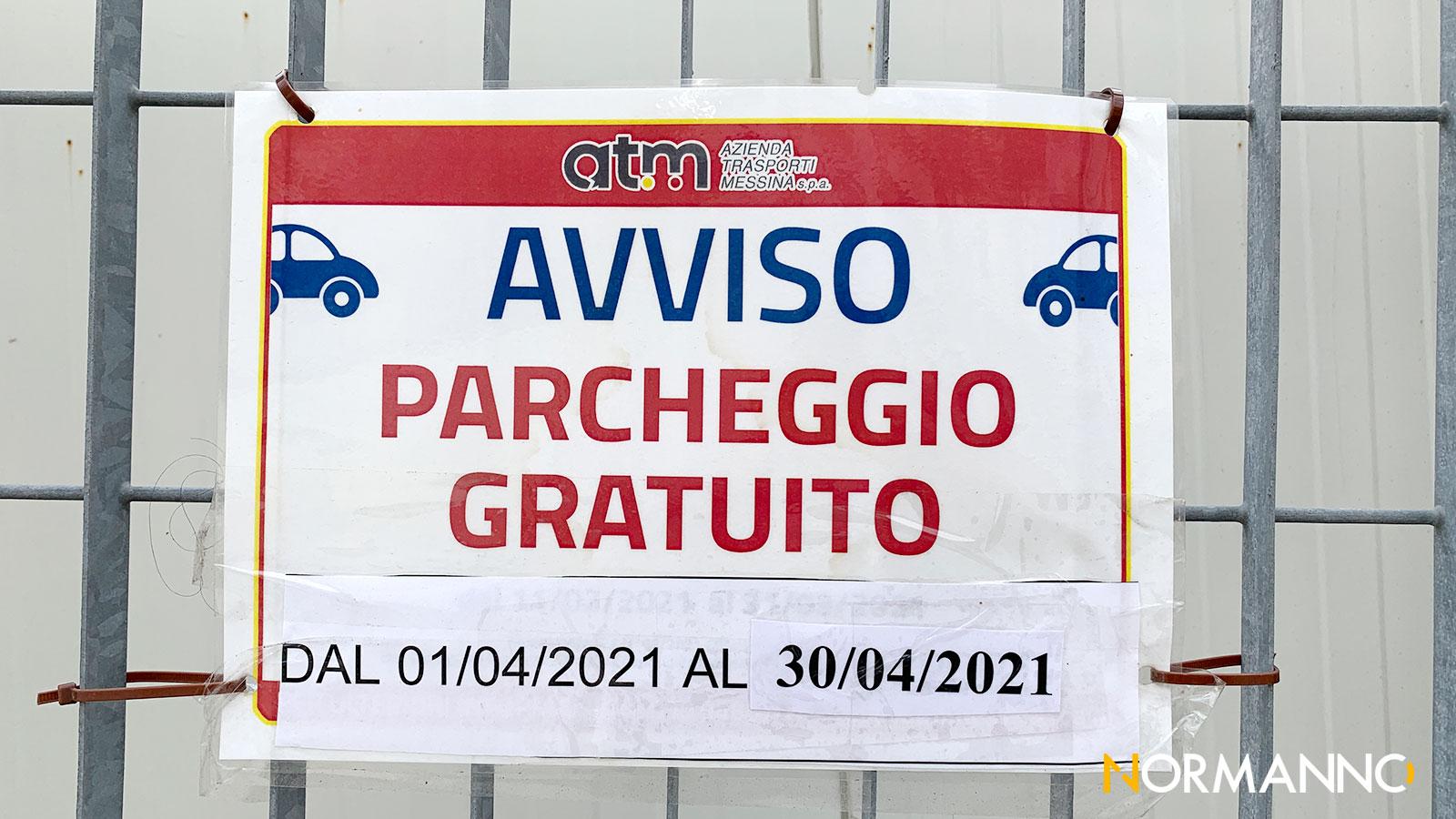 cartello: parcheggi a pagamento gratis a messina fino al 30 aprile 2021