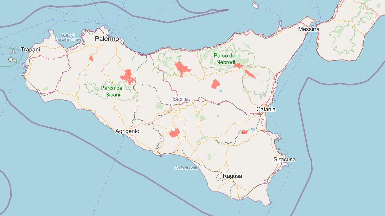 mappa delle zone rosse in sicilia aggiornata al 28 maggio