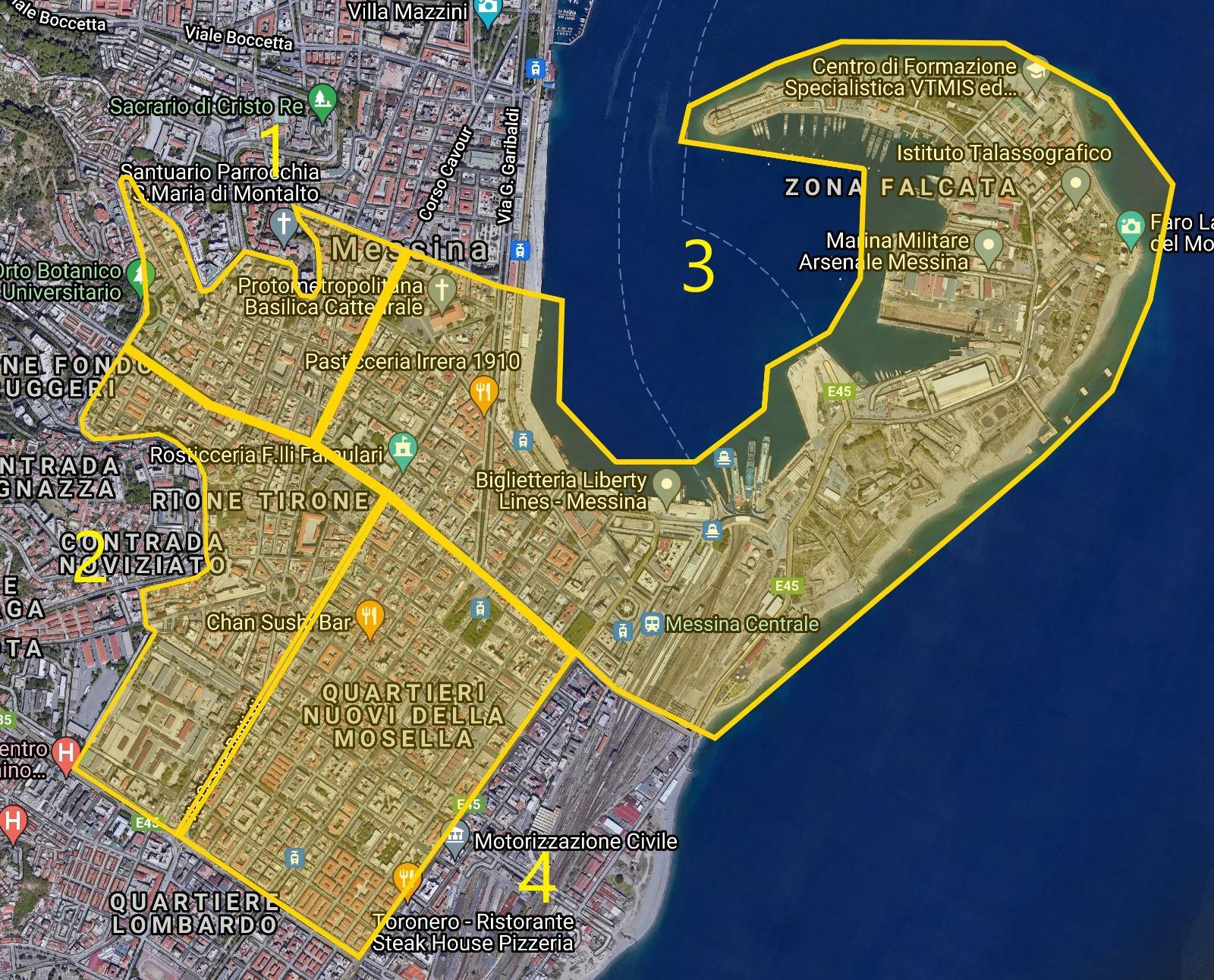 mappa della zona gialla della raccolta differenziata porta a porta a messina