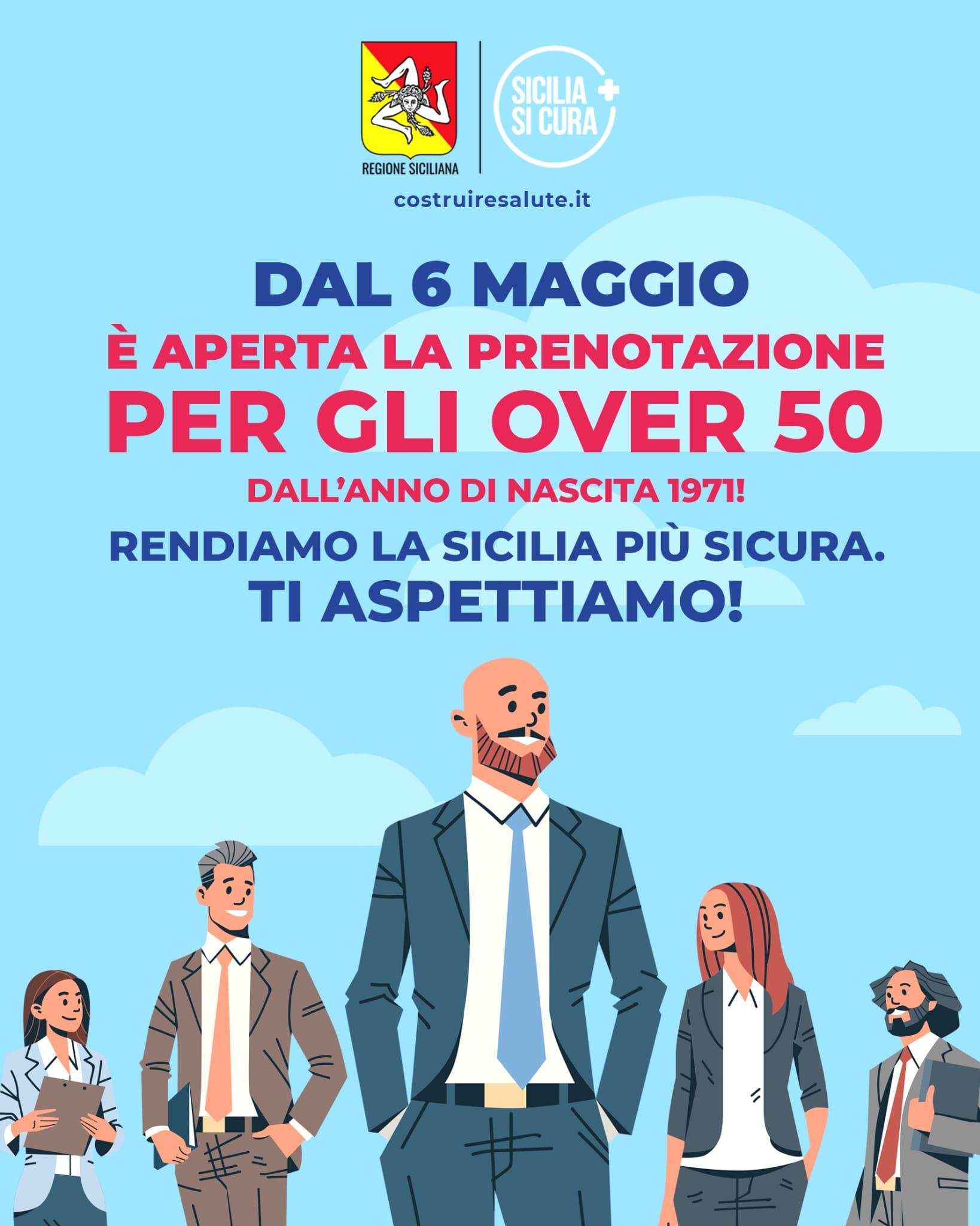 locandina per i vaccini covid agli over 50 in sicilia