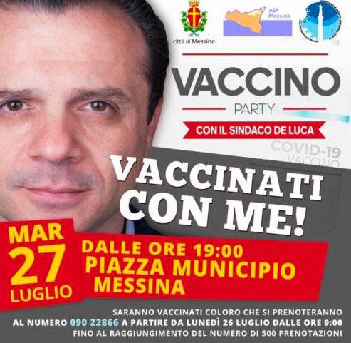 vaccino party a piazza municipio, vaccini anti-covid con sindaco cateno de luca