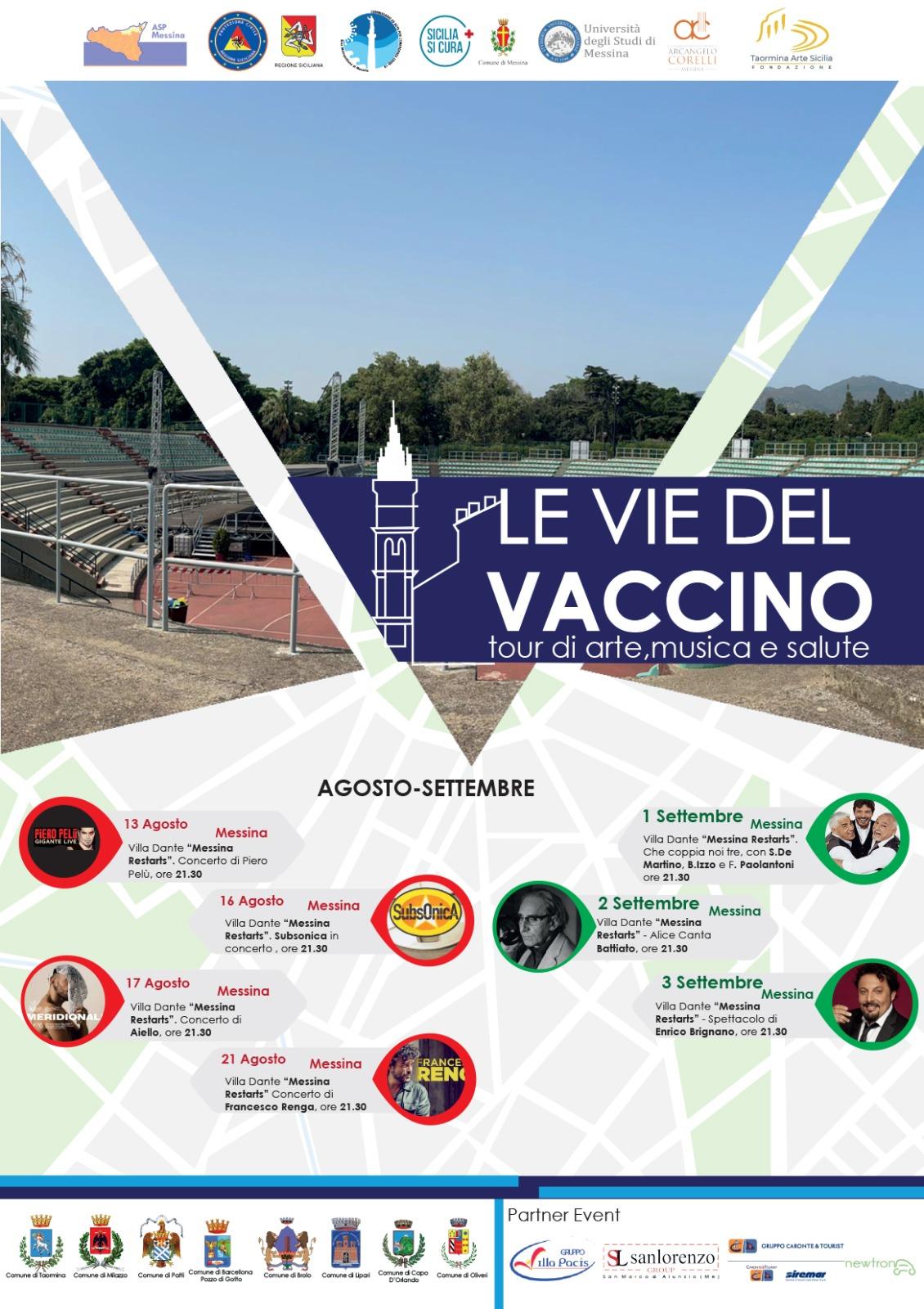 locandina le vie del vaccino: somministrazioni anti-covid ai concerti di Messina Restarts