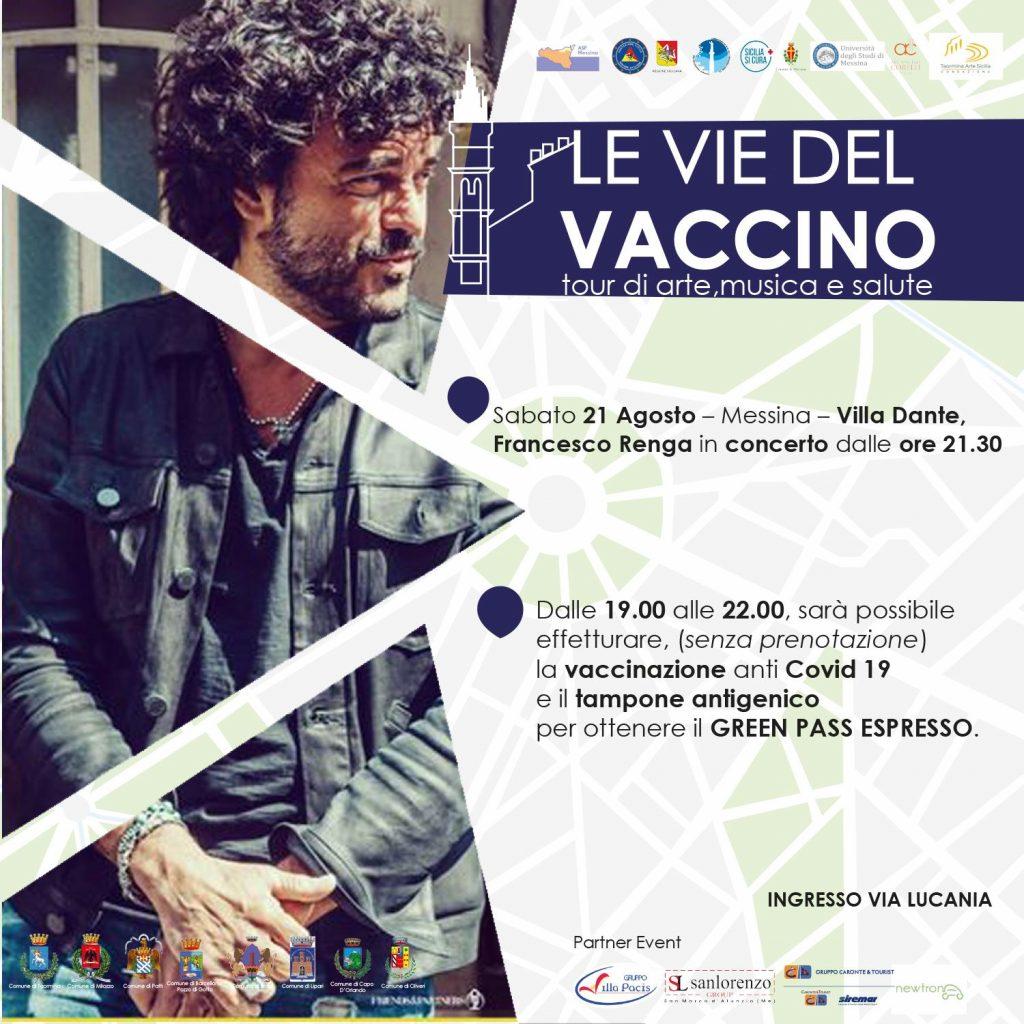le vie del vaccino: concerto di Francesco Renga a Villa Dante, a messina
