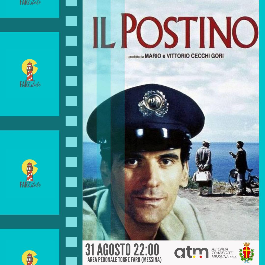 locandina del film il postino per il cinema all'aperto di atm messina a torre faro