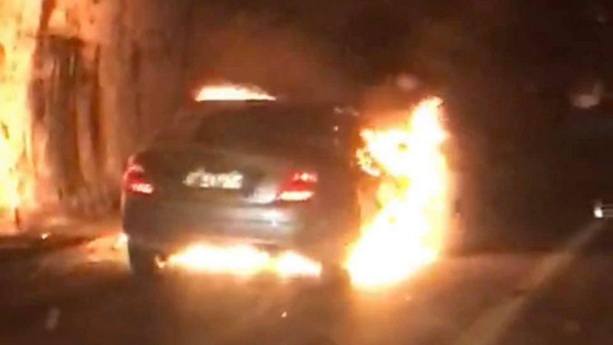 auto in fiamme autostrada (galleria telegrafo) sulla messina-palermo