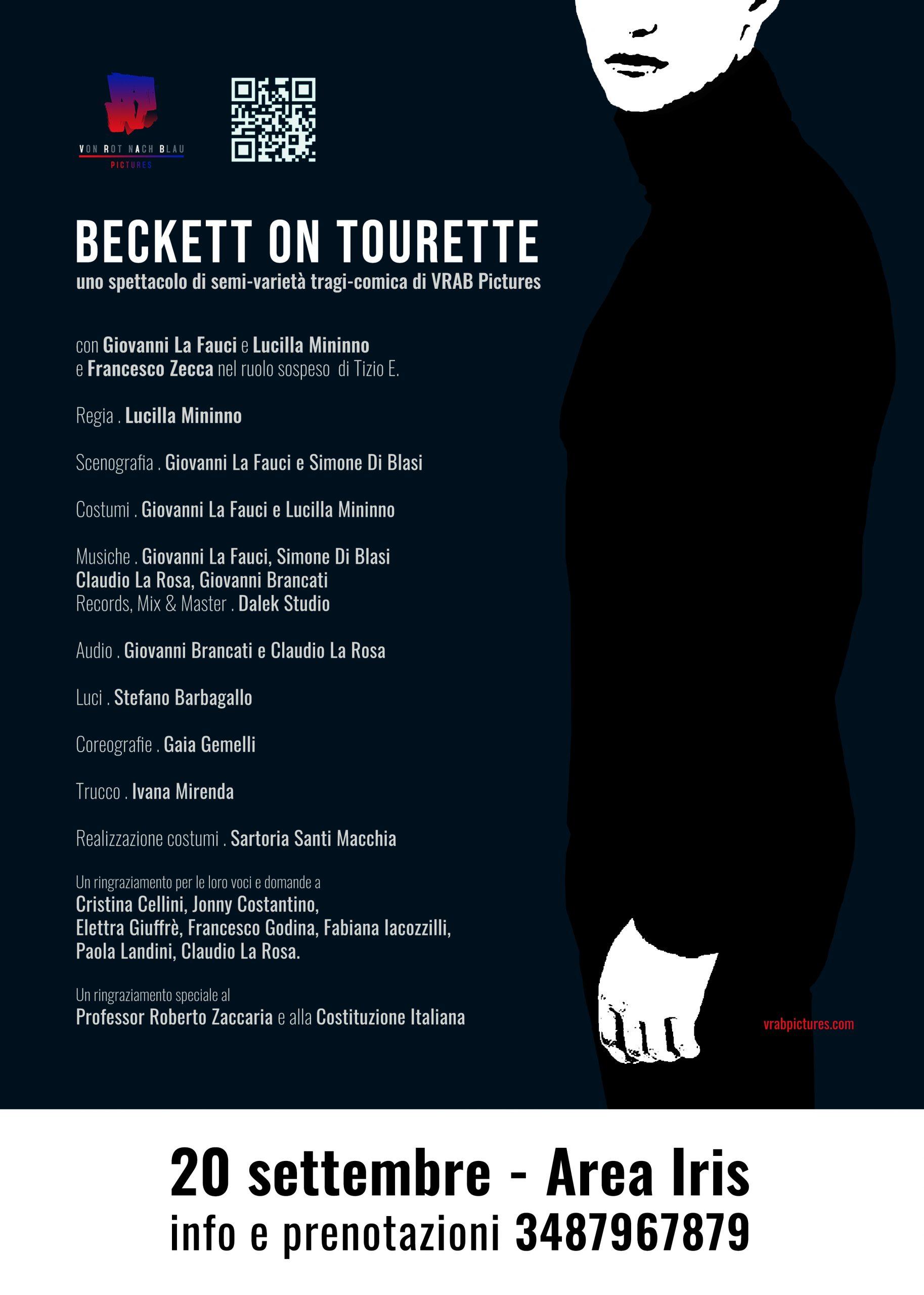 locandina di beckett on tourette al cortile teatro festival di messina