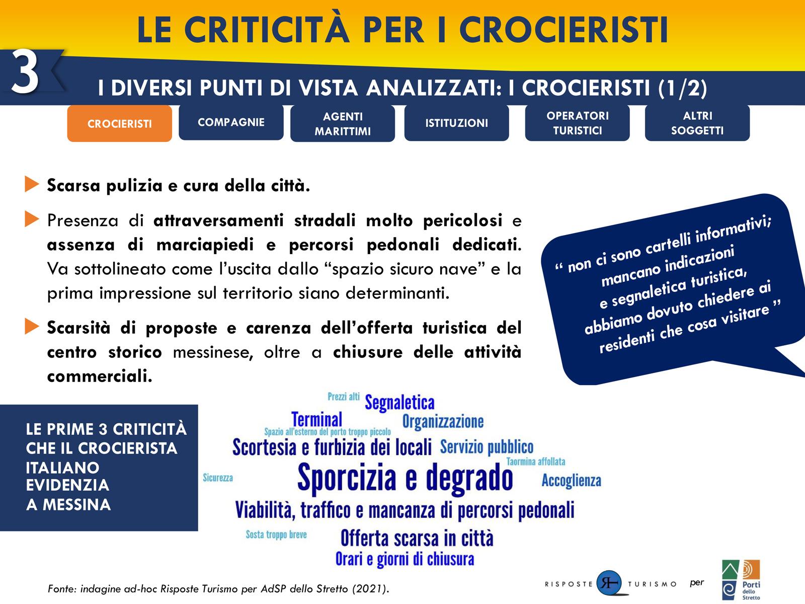 report sull'opinione dei crocieristi su Messina condiviso dall'Autorità di Sistema Portuale dello Stretto