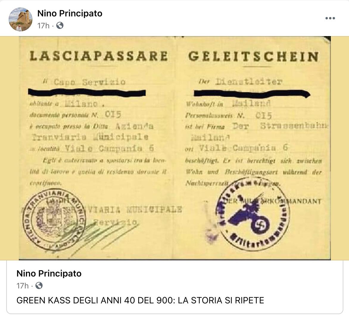 nino principato paragona green pass a lasciapassare nazista