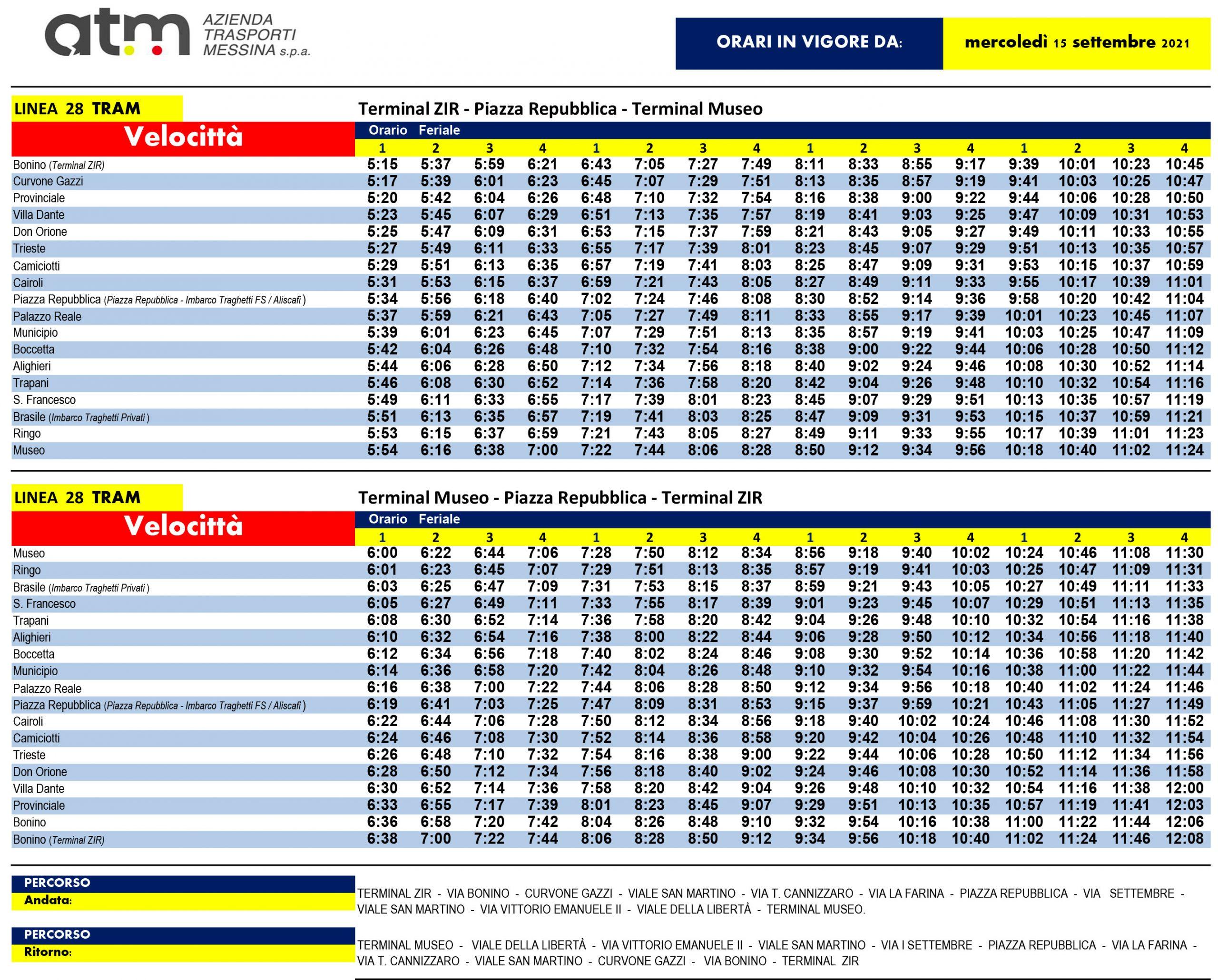 nuovi orari di bus e tram di atm messina