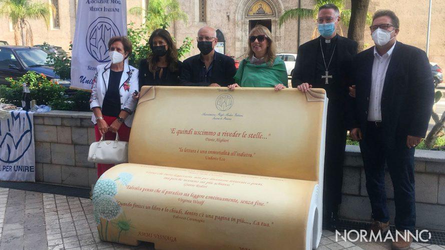 panchina letteraria dedicata a Dante al Palacultura Antonello di Messina