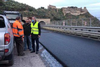 sopralluogo dell'assessore marco falcone sull'autostrada a18 messina-catania